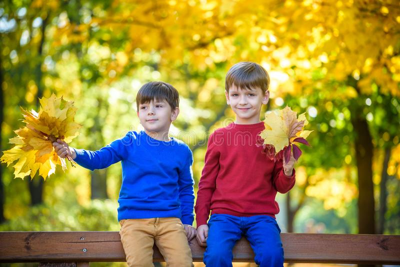 Happy friends, schoolchildren having fun in autumn park among fallen leaves royalty free stock photography