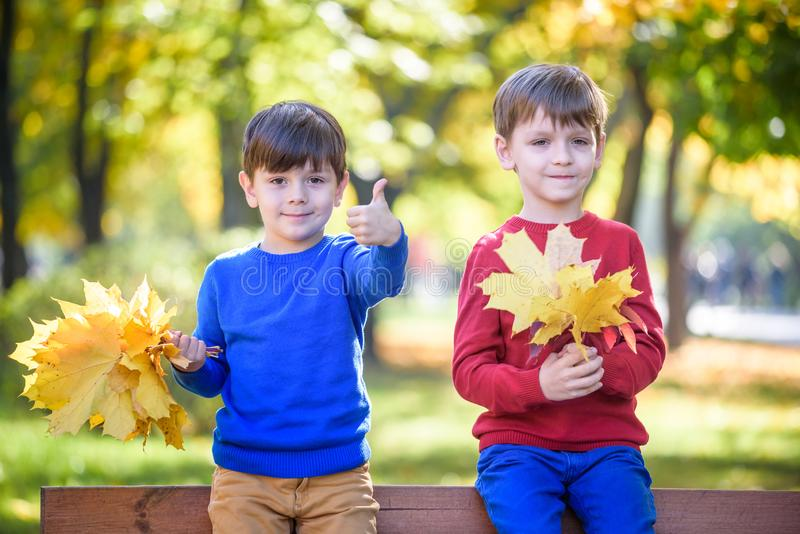 Happy friends, schoolchildren having fun in autumn park among fallen leaves royalty free stock images
