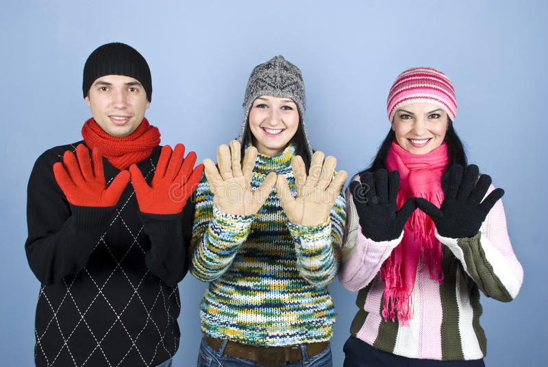 Download Happy Friends Showing Palms In Gloves Stock Photo - Image: 12063430