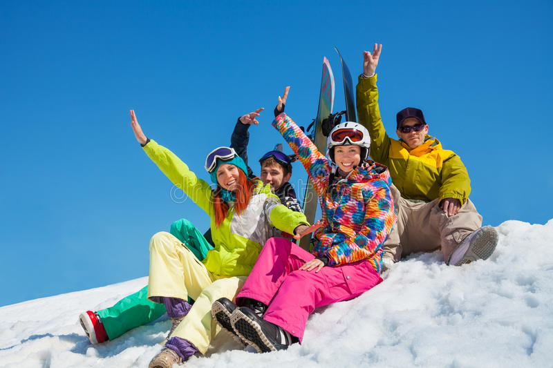 Download Happy Friends On Snowboard Resort Stock Photo - Image: 31796062