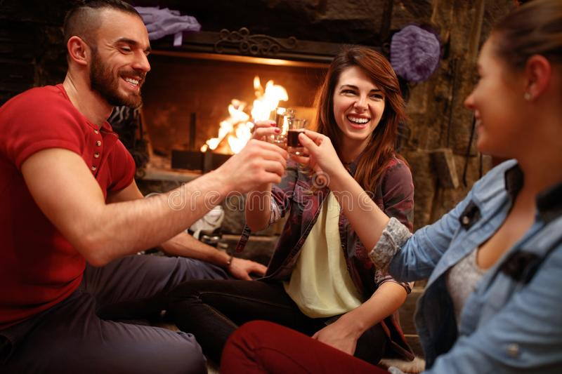Happy friends toasting with glasses of drink. In house with fire in fireplace royalty free stock photography