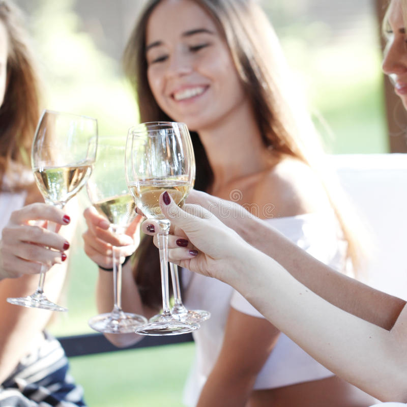 Happy friends toasting wine. Happy female friends toasting white wine outdoors royalty free stock image