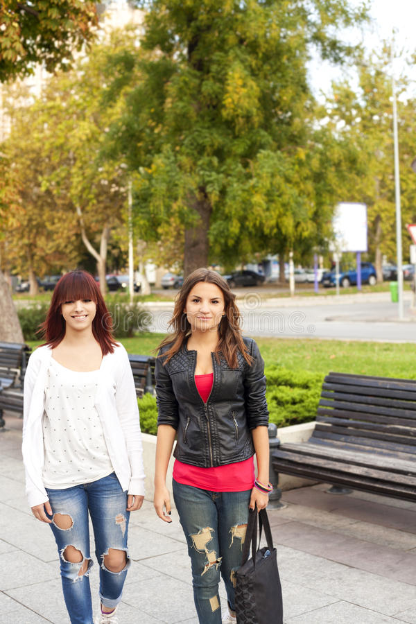 Happy Friends Walking Royalty Free Stock Photo
