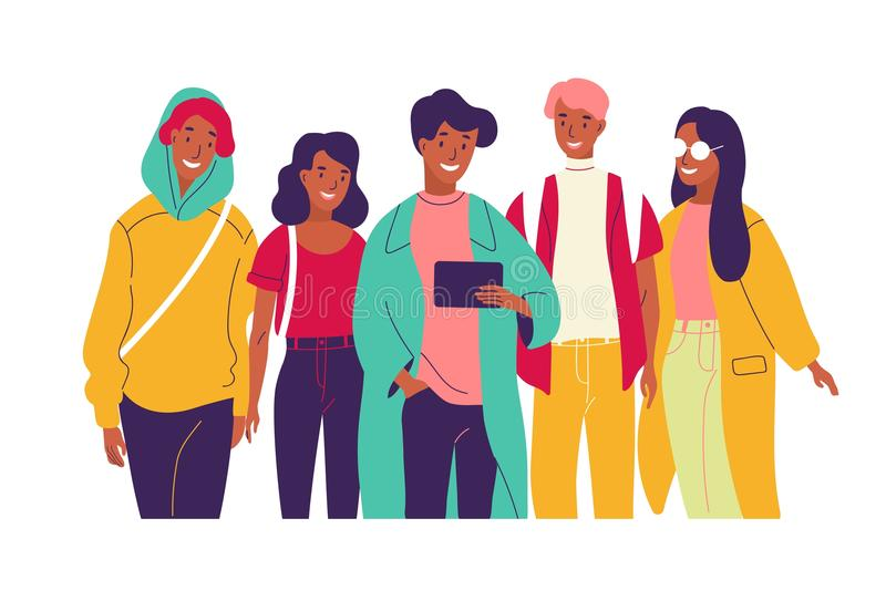 Happy friends watching video together. Group of young smiling men and women dressed in trendy clothes looking at tablet stock illustration