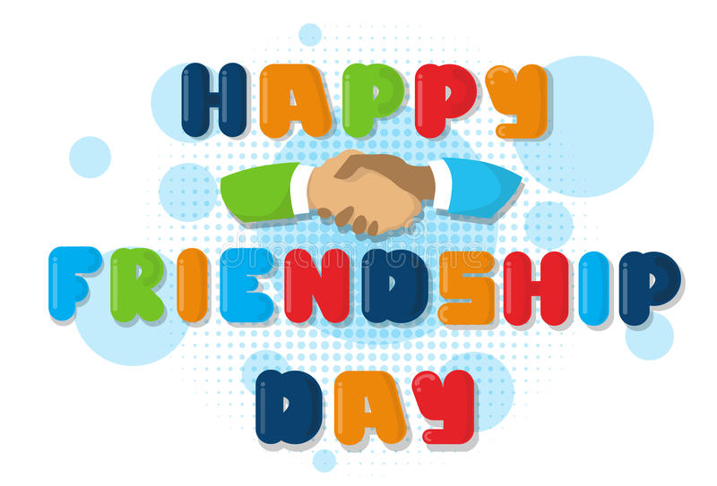 Happy Friendship Day Banner With Hand Shaking. Flat Vector Illustration vector illustration