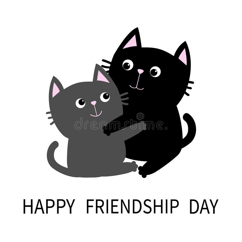 Happy Friendship Day. Black Gray Cat Hugging Couple. Hug, Embrace, Cuddle.  Friends Forever. Greeting Card. Cute Cartoon Character. Kitty Whisker Baby  Pet ...