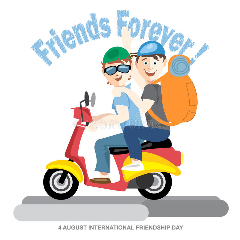 Free Happy Friendship Day Card. 4 August. Best Friends Riding A Red Motorcycle Royalty Free Stock Image - 74366626