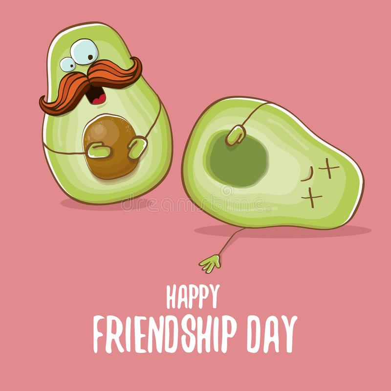 Happy friendship day cartoon comic greeting card with two green avocado friends. Friendship day concept funky greeting vector illustration
