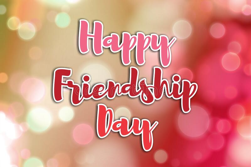 Happy friendship day concept. Happy friendship day concept on a beautiful  bokeh background stock photos