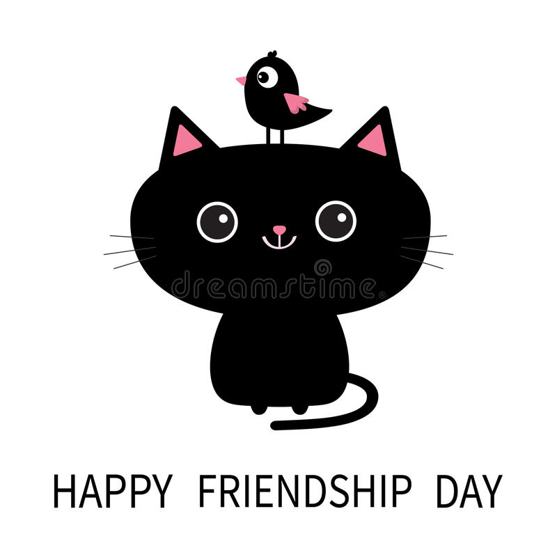 Happy Friendship Day. Cute Black Cat Icon. Bird Sitting On Head Face. Funny  Cartoon Character. Kawaii Animal. Kitty Kitten. Baby Pet Collection.
