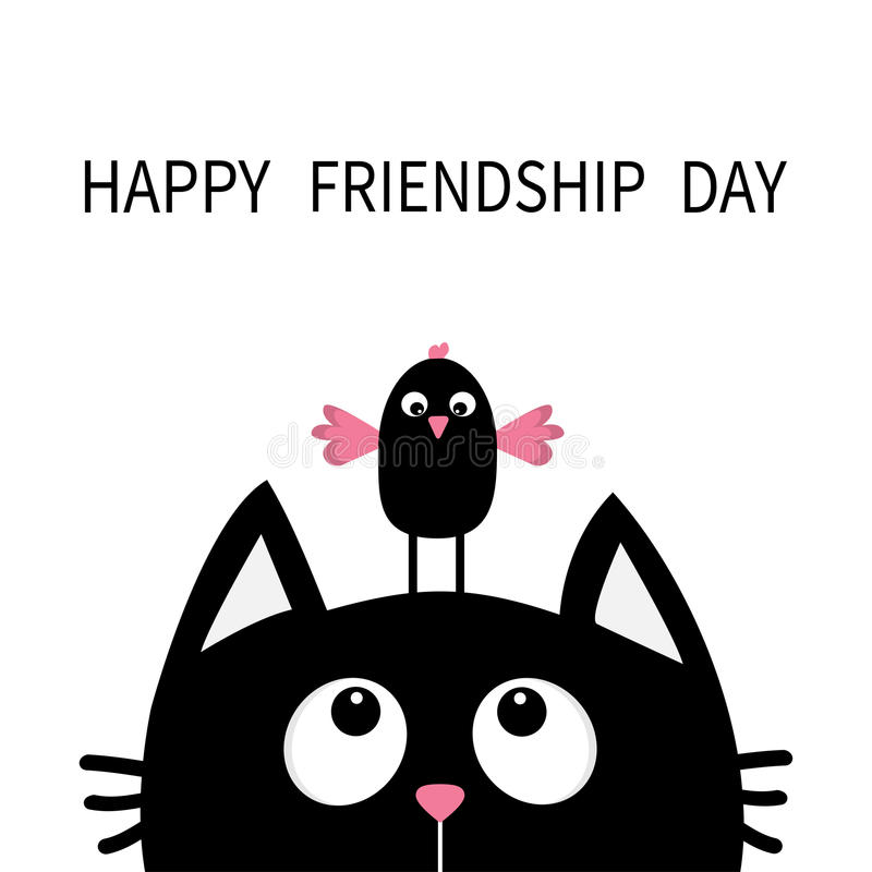 Happy Friendship Day. Cute black cat looking up to bird on head. Funny cartoon character. Kawaii animal. Kitty kitten. Baby pet co royalty free illustration