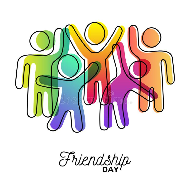 Happy Friendship day card of friends dancing stock illustration