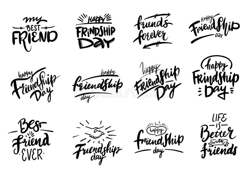 Happy Friendship day hand drawn vector set lettering. Inspirational quote about friendship. stock illustration