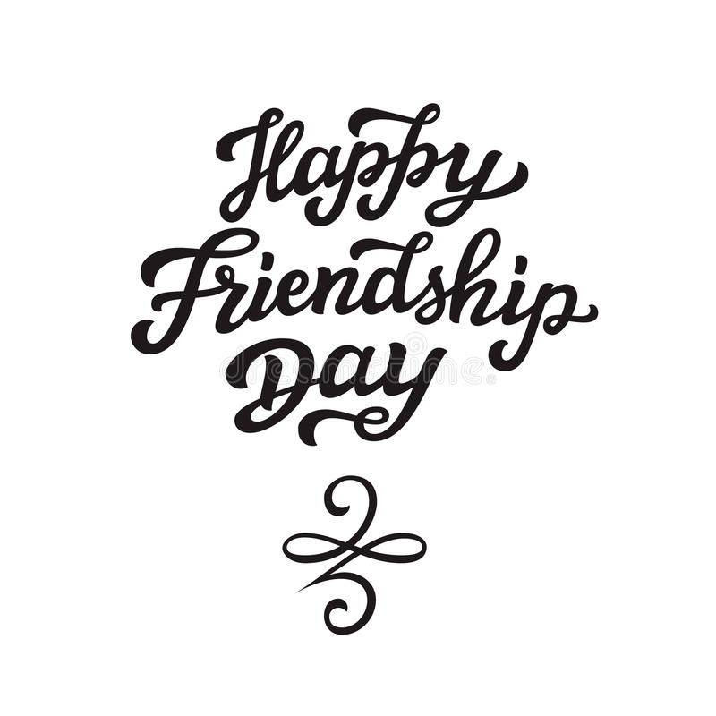 Happy Friendship Day Lettering Text Stock Vector Illustration Of