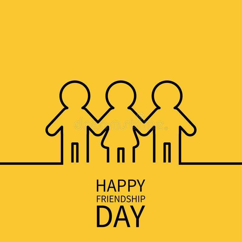 Happy Friendship Day. Two black man male and one woman female silhouette sign symbol. Boys girls holding hands line contour icon. royalty free illustration