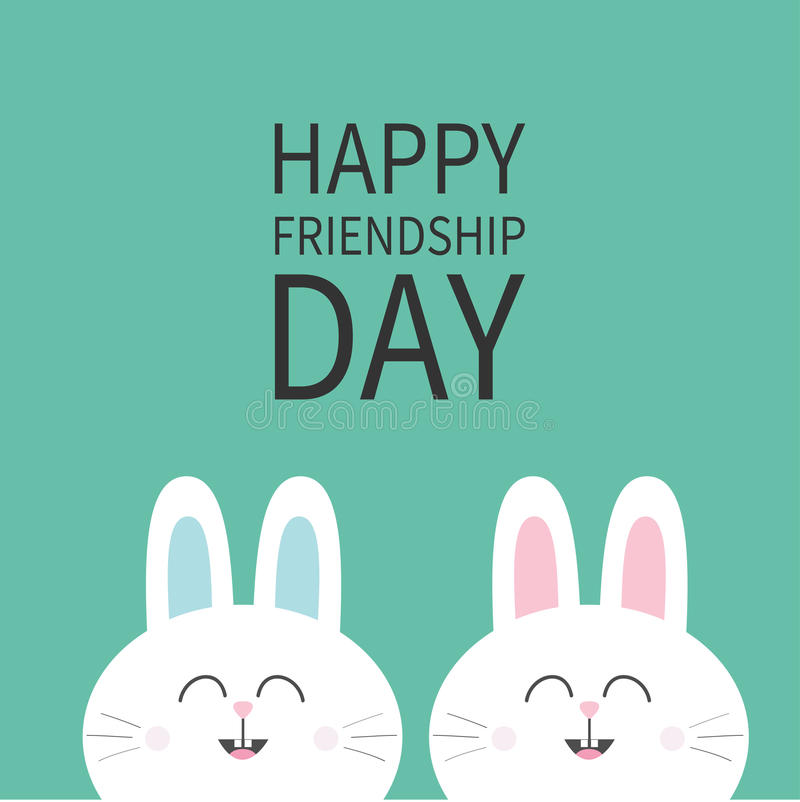 Download Happy Friendship Day. Two White Bunny Rabbit Head Couple Set. Cute  Cartoon Smiling