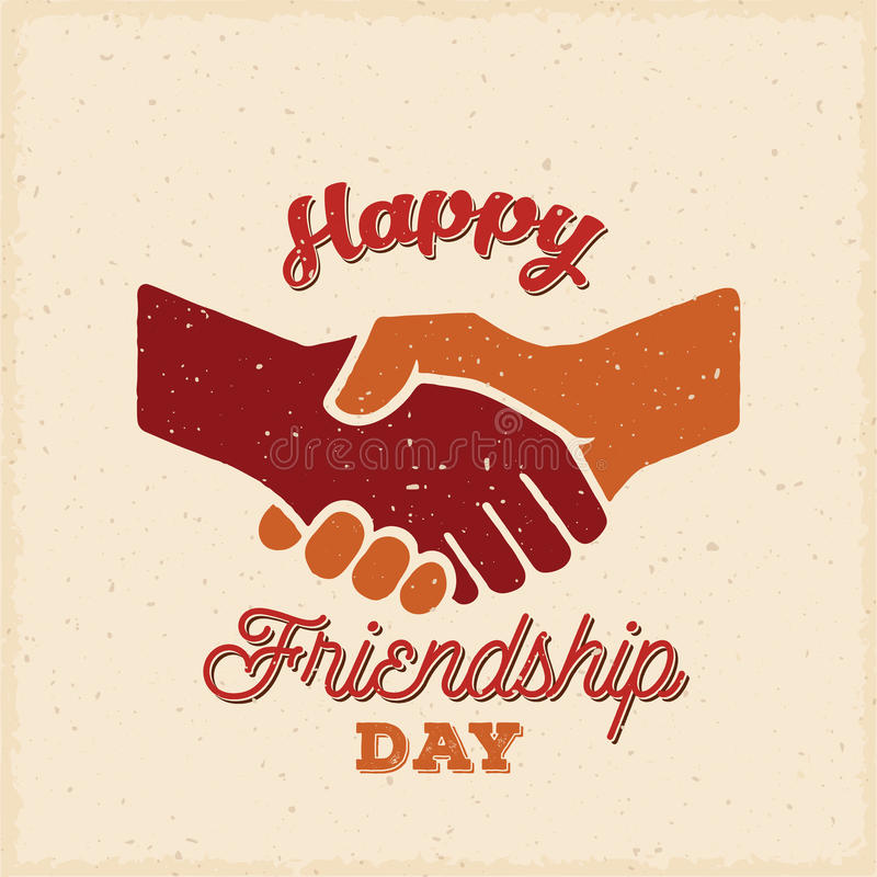 Happy Friendship Day Vector Retro Card Poster Or A Background