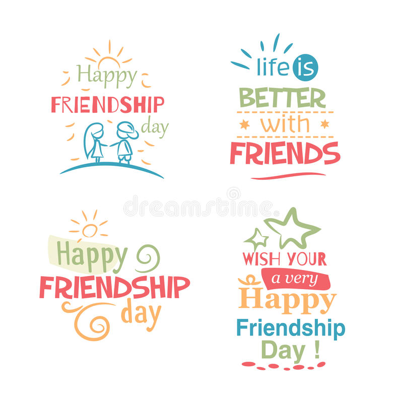 Happy Friendship day vector typographic colorful design. royalty free stock photo
