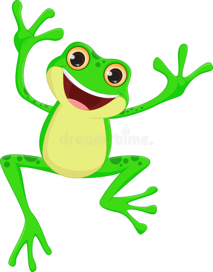 Free Happy Frog Cartoon Jumping Stock Images - 73230444