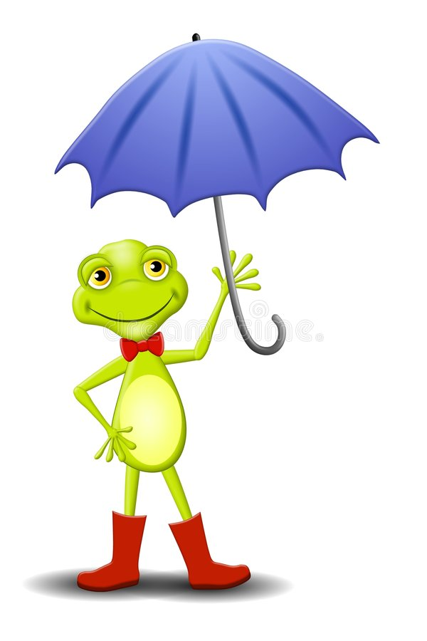 Happy Frog Holding Umbrella. An illustration featuring a happy smiling frog standing in a pair of red boots holding an umbrella royalty free illustration