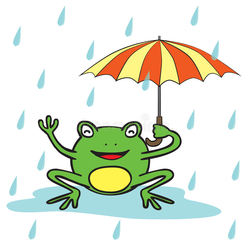 Happy frog in the middle of rain. Represent a happy frog holding an umbrella in the rain. There are rain drops around the frog. The rain drops use transparency stock illustration