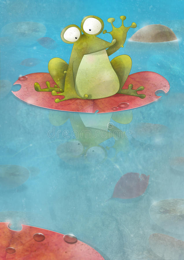 Free Happy Frog Sitting On A Lily Pad Waving Stock Photo - 17110700