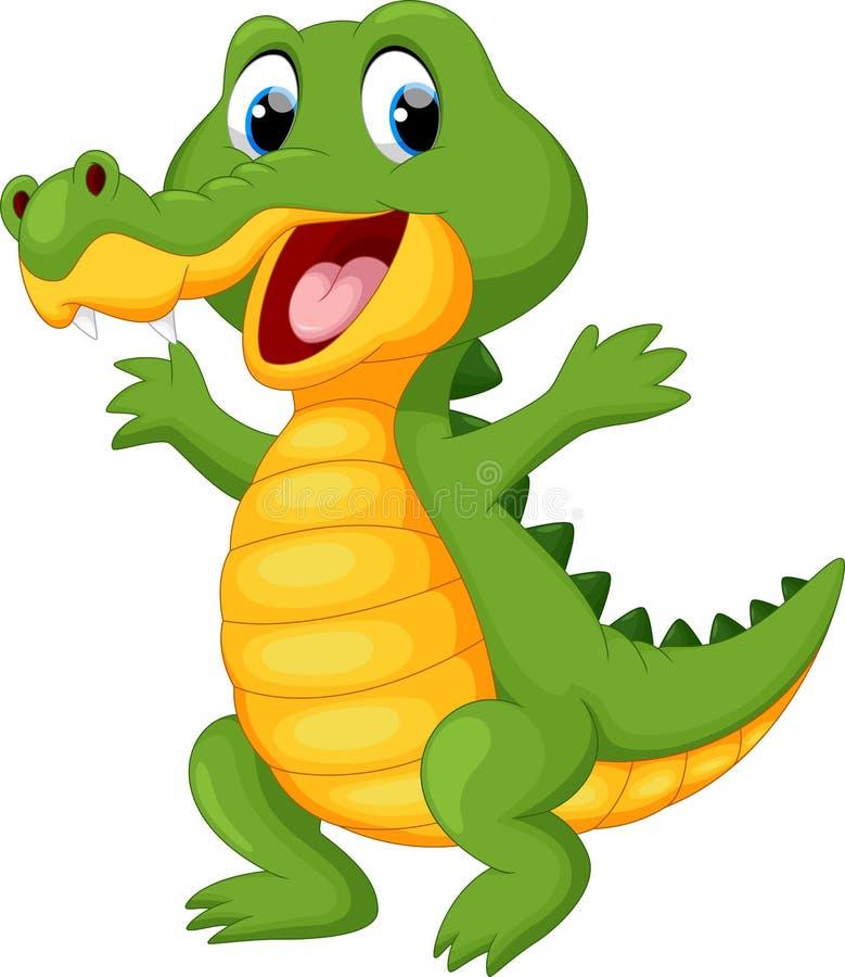 Happy fun crocodile cartoon royalty free illustration