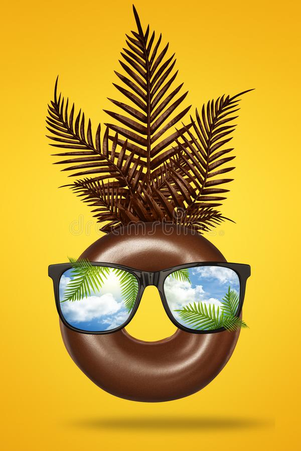 Happy fun face made of brown chocolate donut with sunglasses, green tropical leaves palm on bright pastel yellow and. Orange background. Travel and vacation vector illustration