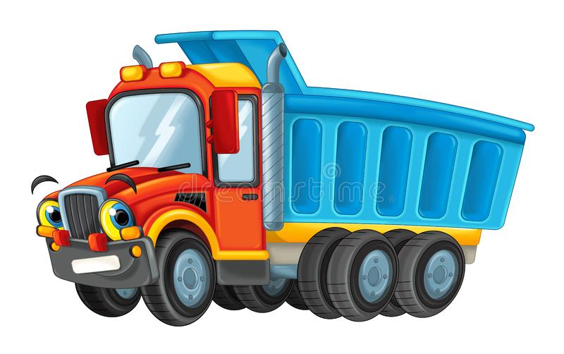 Happy and funny cartoon cistern truck looking and smiling driving through the city. Beautiful and colorful illustration for the children - for different usage stock illustration