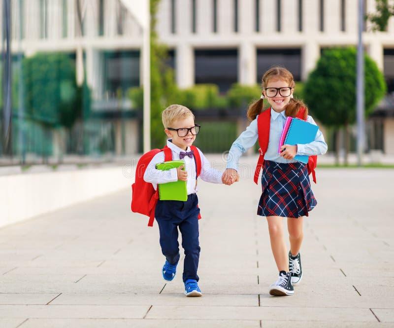 Happy  funny children students elementary school royalty free stock image