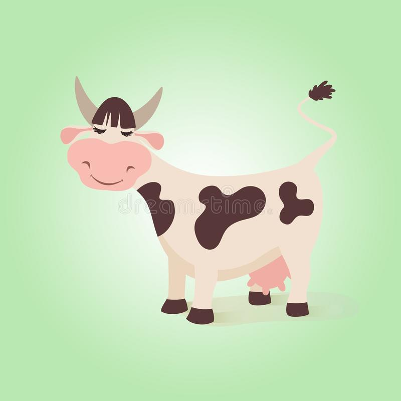 Happy funny cow. Creative illustration farm cute cows with expressions character and pink udder. Vector comic cattle stock illustration