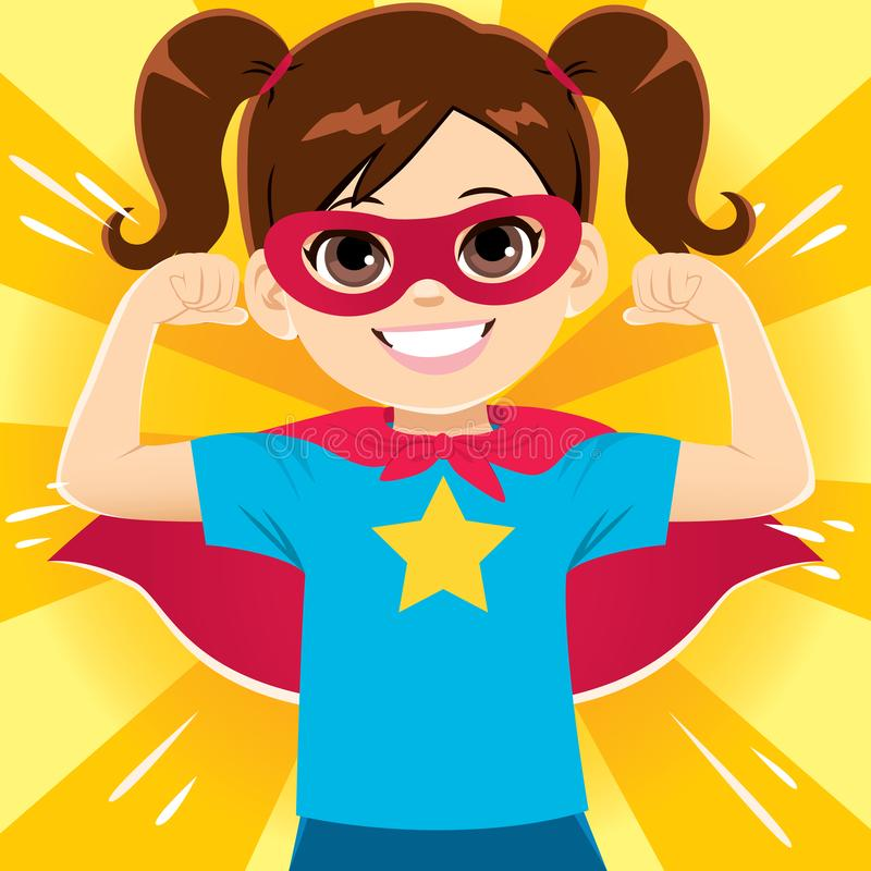 Super Hero Girl. Happy funny and cute little super hero girl flexing arms showing strength stock illustration