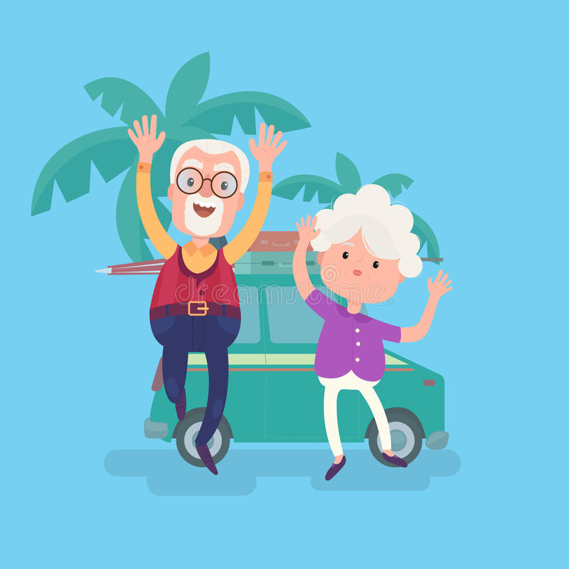 Happy funny grandparents couple on vacation. With suitcases stand near traveling car. Cool vector flat character design on senior age travelers royalty free illustration