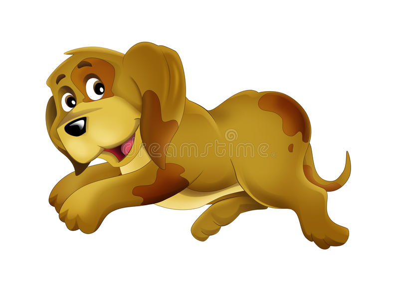 Happy and funny isolated animal - happy dog - illustration for children. Happy and funny traditional scene for different usage - for different fary tales stock illustration