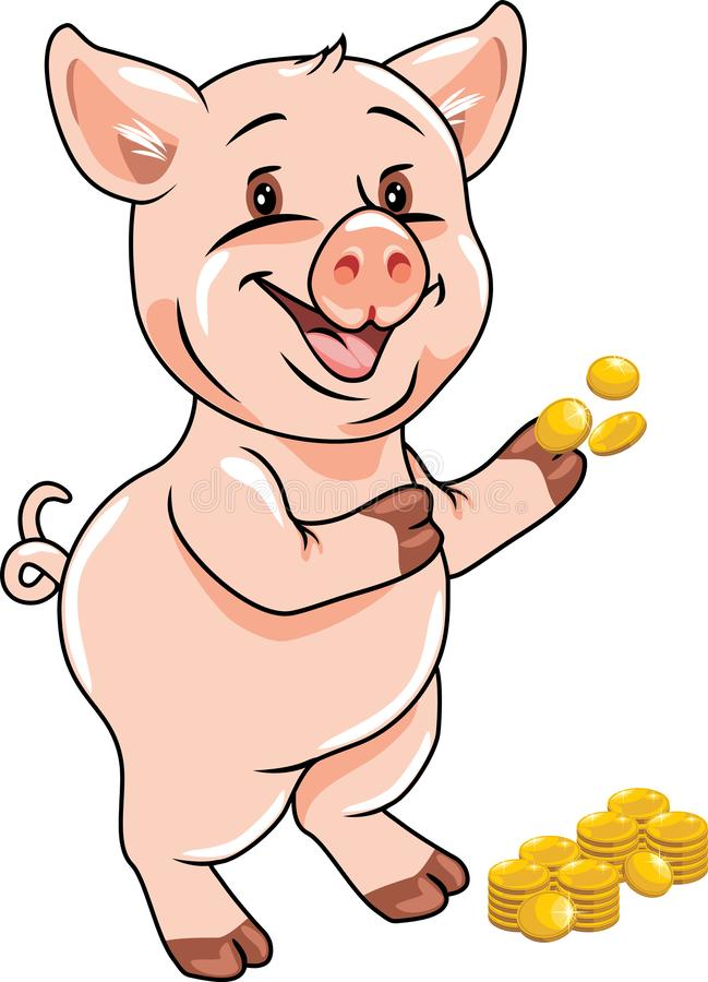 Happy funny piggy with coins stock photography