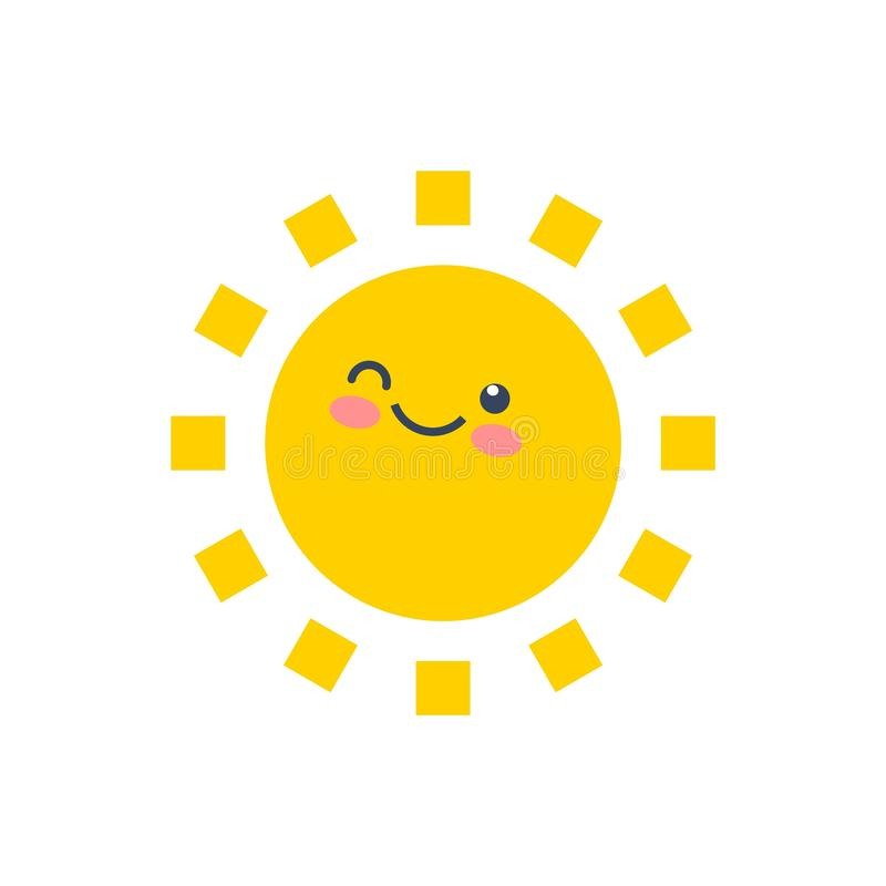 Happy funny smile sun. Cute sunshine kids face. stock illustration