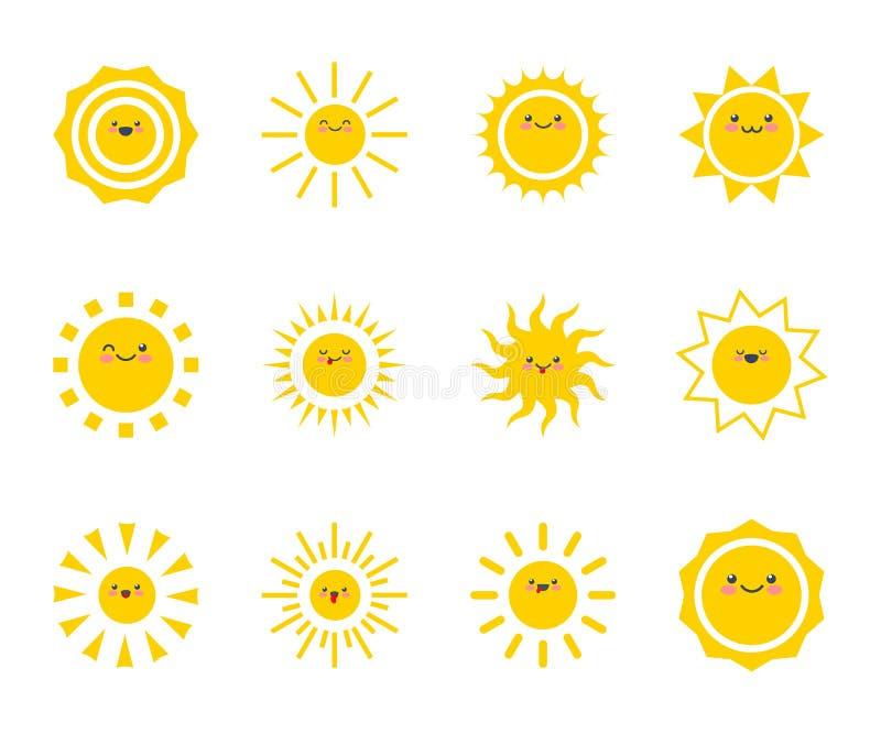 Happy funny smiley sun. Cute sunshine kids face. vector illustration