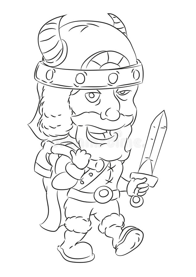 Cartoon armed viking ready for battle. Happy and funny traditional illustration for children - scene for different usage royalty free illustration