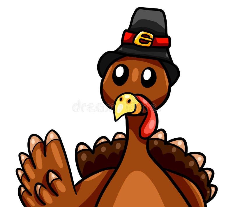 Happy Funny Waving Thanksgiving Turkey иллюстрация штока