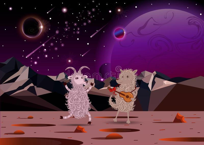 Happy Funny White Cartoon Fluffy Goat dance and fluffy dog playing a guitar on another planet in open space vector illustration