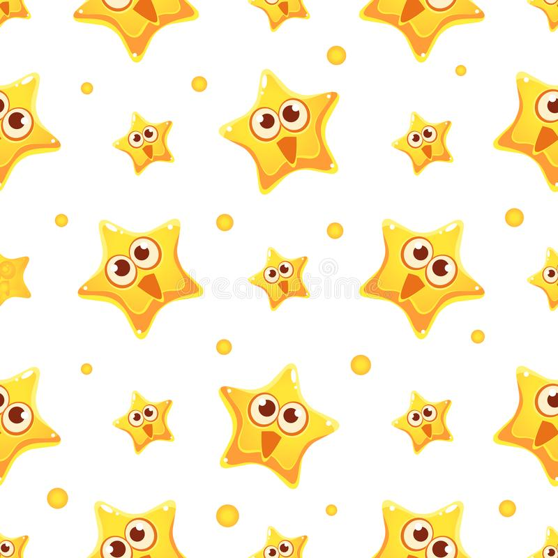 Happy Funny Yellow Star Character Seamless Pattern, Design Element Can Be Used for Wallpaper, Packaging, Background stock illustration