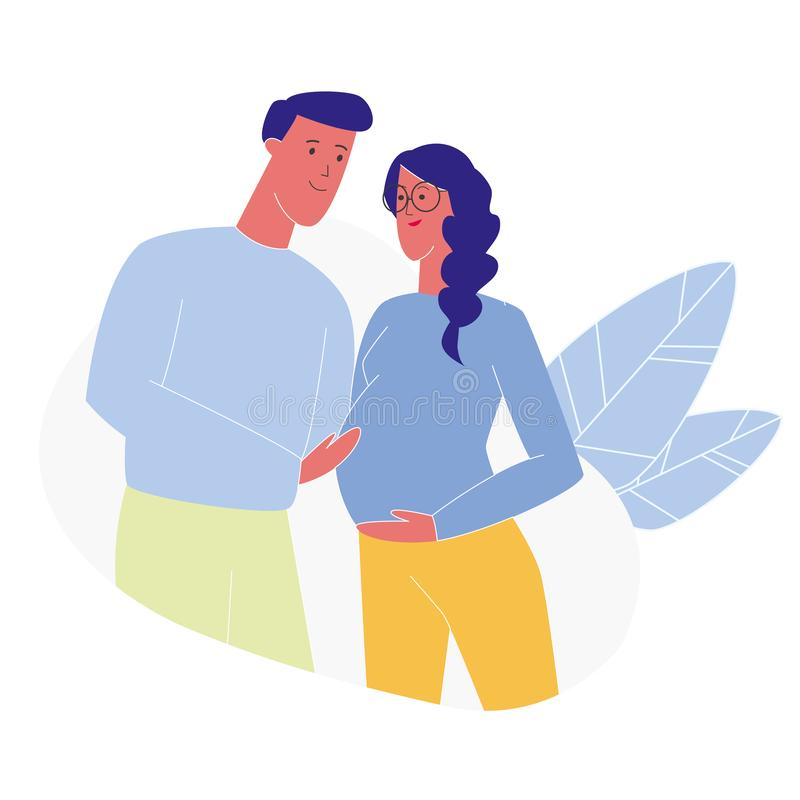 Happy Future Mom and Dad Flat Vector Illustration. Boyfriend Touching Pregnant Girlfriend Belly. Cartoon Smiling Man and Woman, Married Couple Expecting Baby vector illustration