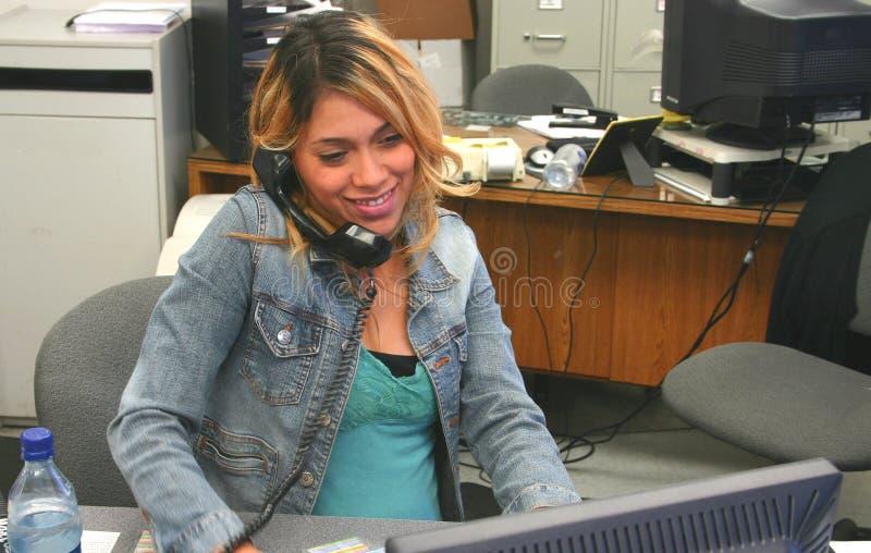Happy future mom at work stock photos