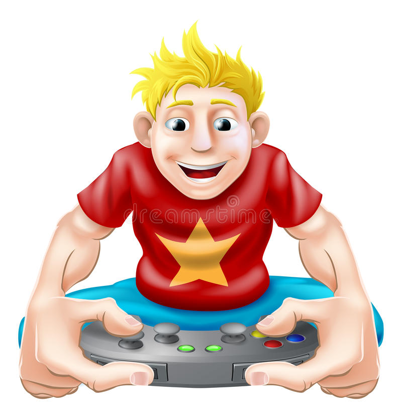 Happy gamer. A cartoon drawing of a young gamer playing on his games console royalty free illustration