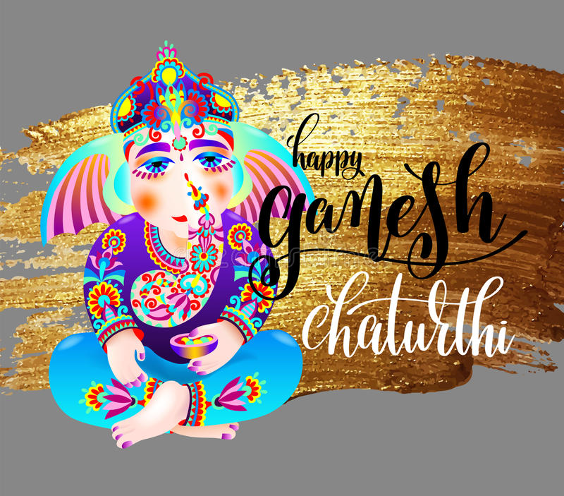 Happy ganesh chaturthi indian festival design poster stock illustration
