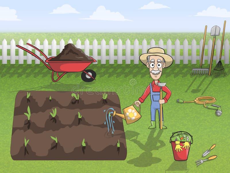 Download Happy Gardener Character At Work Stock Vector - Illustration of business, cartoon: 39503244