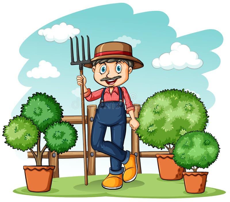 Happy gardener with a rake. Happy gardener holding a rake on a white background royalty free illustration