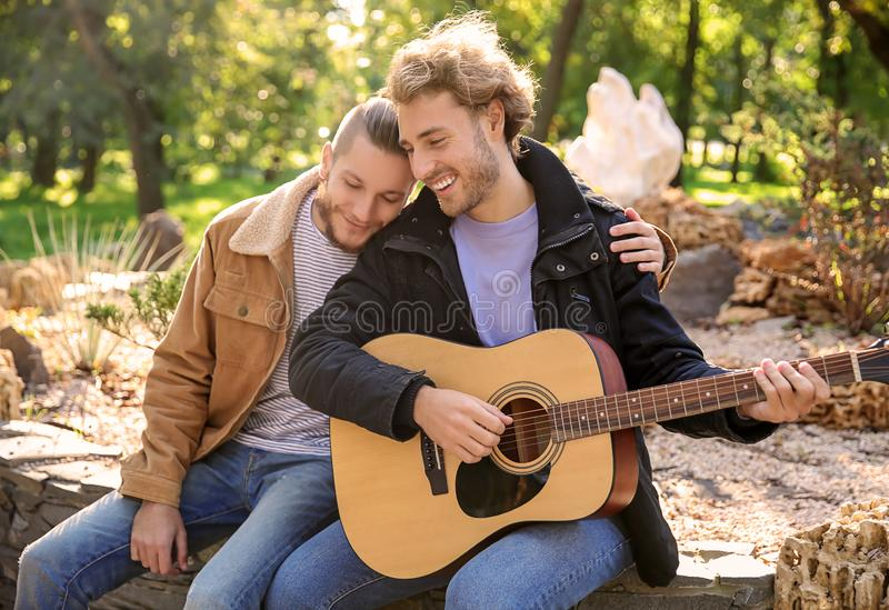 Happy gay couple with guitar in park royalty free stock photo