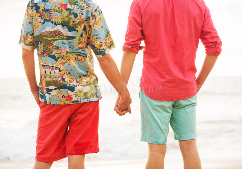 Happy gay couple. Young happy gay couple on the beach royalty free stock photography