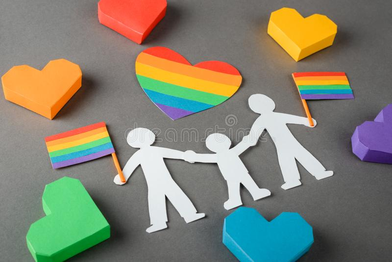 Happy gay family with child stock image